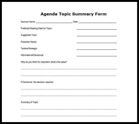 Business Meeting Agenda Format - Format For An Agenda