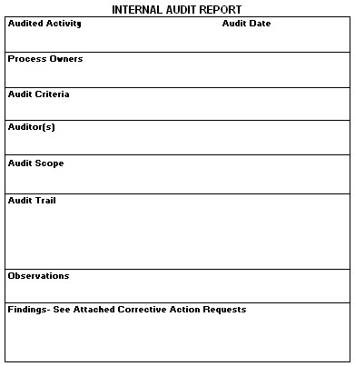 Internal Audit Report - audit report
