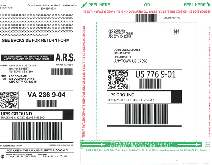 Two Sided shipping label and packing slip QaulityForms