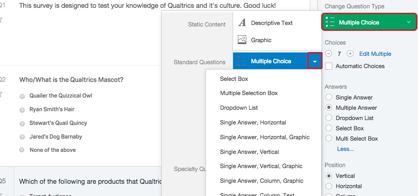 creating multiple choice questions
