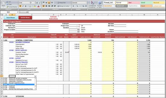 construction bid templates
