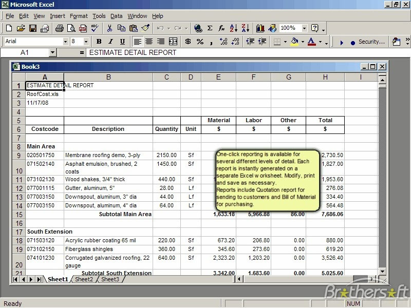 Roof Cost Estimator for Excel 20 Cost Estimator Sheet