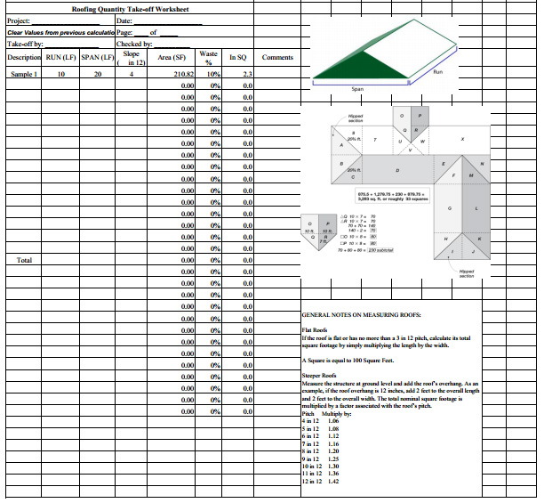 Roofing Estimate Sheet How to estimate roofing cost - estimating sheets template