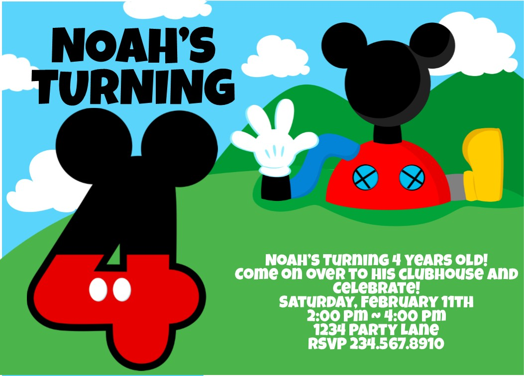 Fullsize Of Mickey Mouse Birthday Invitations