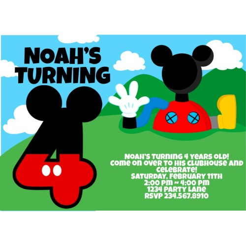 Medium Crop Of Mickey Mouse Birthday Invitations