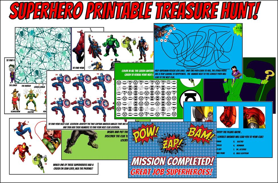 Printable Superhero Treasure Hunt Game