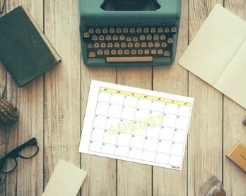 Free Printable 2016 Monthly Calendar