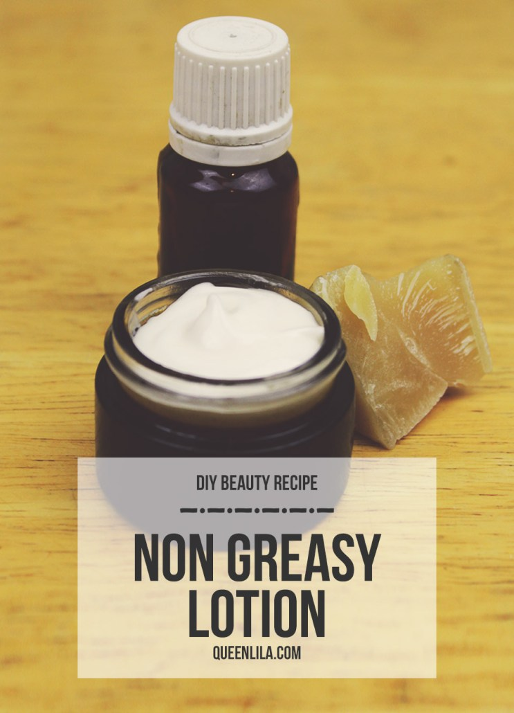 DIY non greasy lotion by queenlila.com | Click through for the recipe!