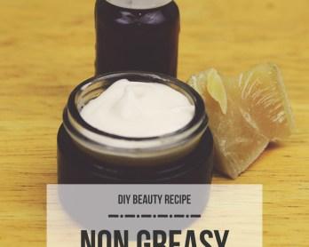 DIY non greasy lotion by queenlila.com | Click through for the recipe!
