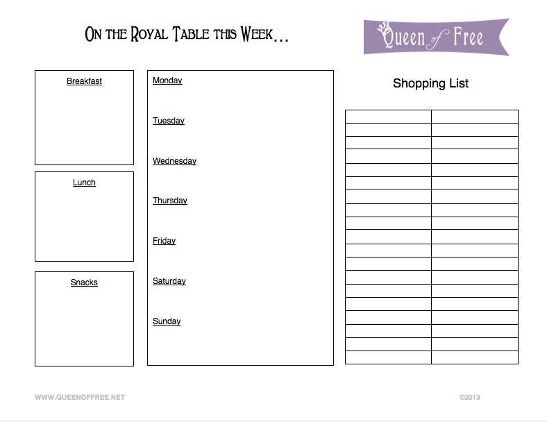 FREE Printable Menu Planner  Grocery List - Queen of Free - Printable Weekly Menu Planner With Grocery List