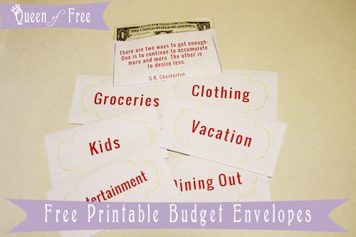 FREE Printable Cash Envelopes - Queen of Free
