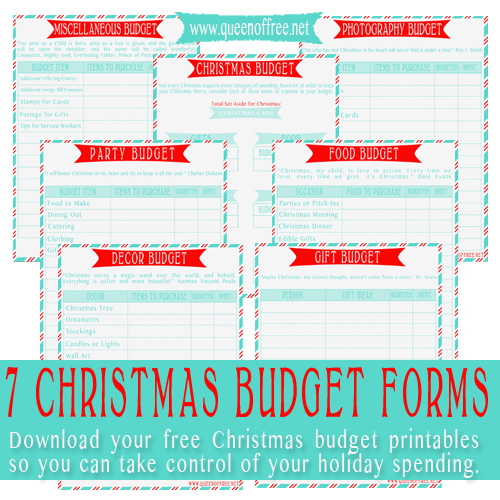 FREE Printable Christmas Budget Forms - Queen of Free - free budget form