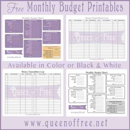 FREE Printable Budget Forms - Queen of Free - printable shopping list with categories
