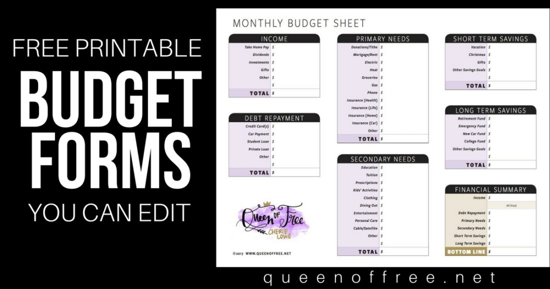 All New FREE Printable Budget Forms You Can Edit - Queen of Free