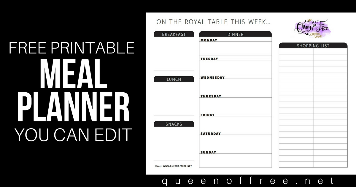 All New FREE Printable Meal Planner You Can Edit - Queen of Free - printable meal planner