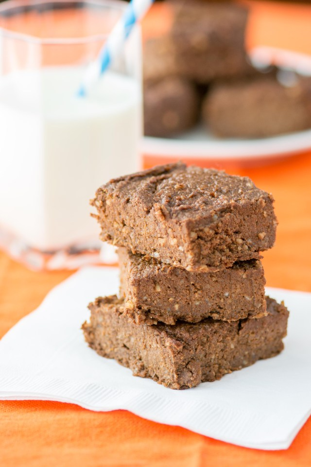 Spicy Cinnamon Sweet Potato Brownies - Twice as much protein, 1/3 less sugar, and four times as much fiber as a regular brownie! A fantastic, healthy dessert!