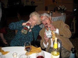 Gramma and Poppo joking around at their 60th wedding anniversary.