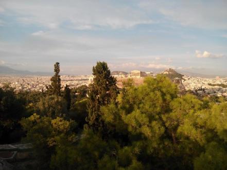 Vue de la colline de Philopappou du monument funéraire (Athènes)