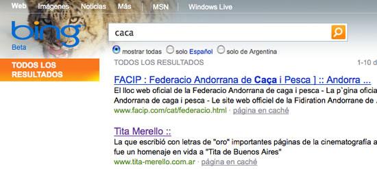 Bing: Buscando CACA en Bing