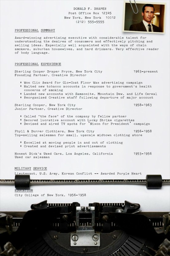 El CV de Don Draper (Mad Men)