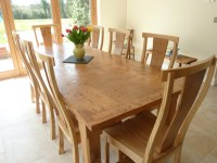 Large Pippy Oak Dining Table and Chairs | Quercus Furniture