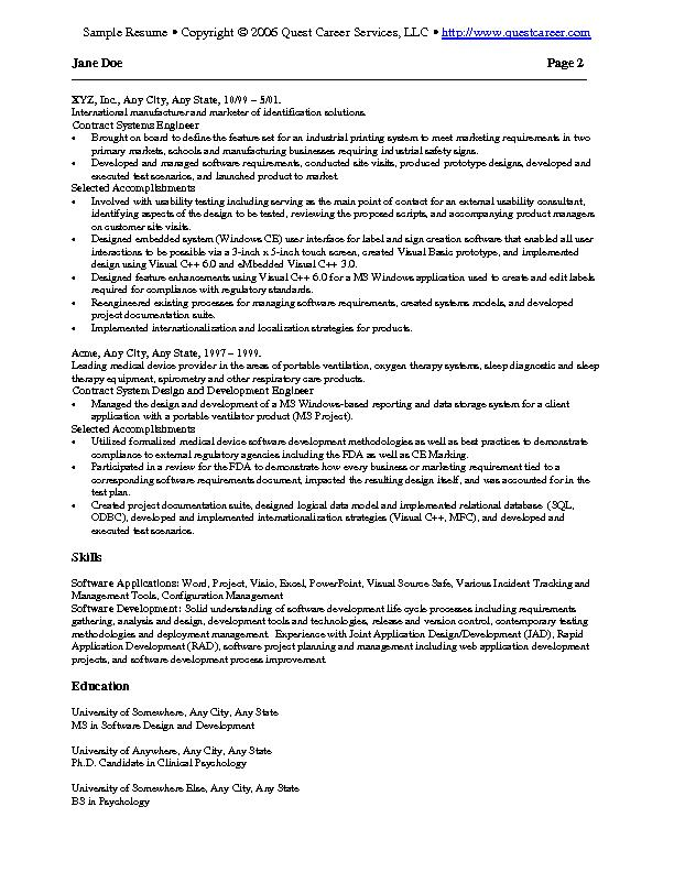 Sample Resume Example 2 - IT resume, software development resume - software examples for resume