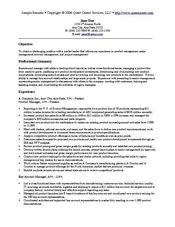 sales resume keywords list