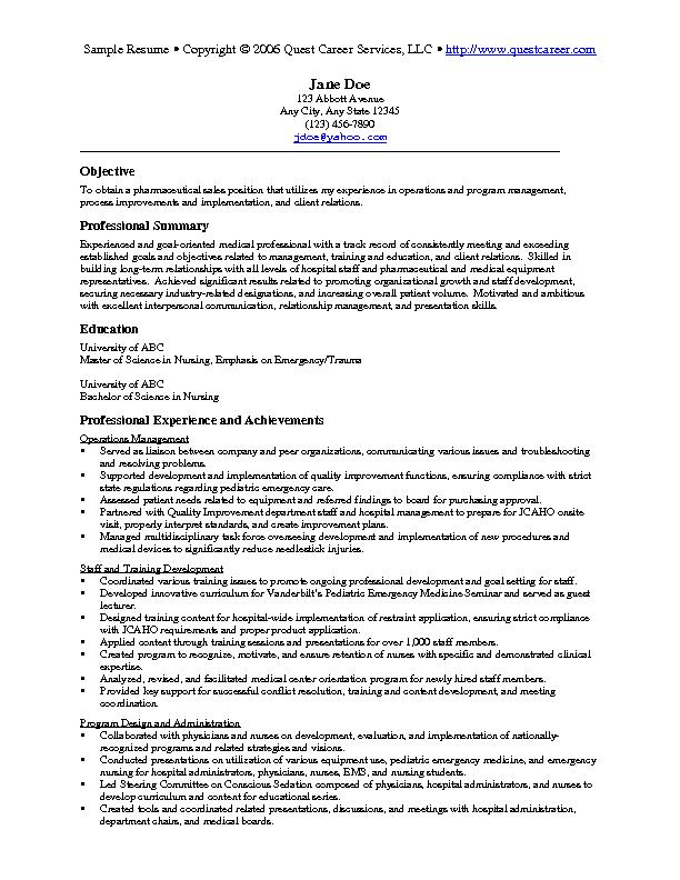 Sample Resume Example 5 - Pharmaceutical Sales Resume