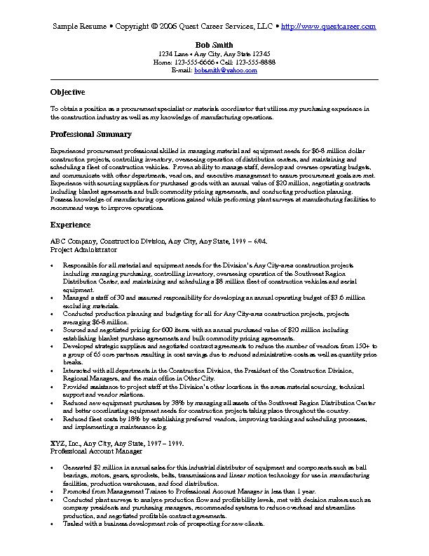 procurement resume examples - Maggilocustdesign