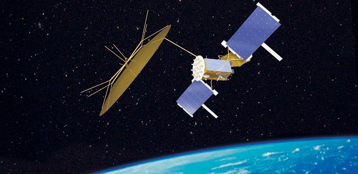 MUOS Satellite orbiting over earth