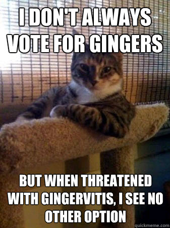 I don\u0027t always vote for gingers but when threatened with gingervitis