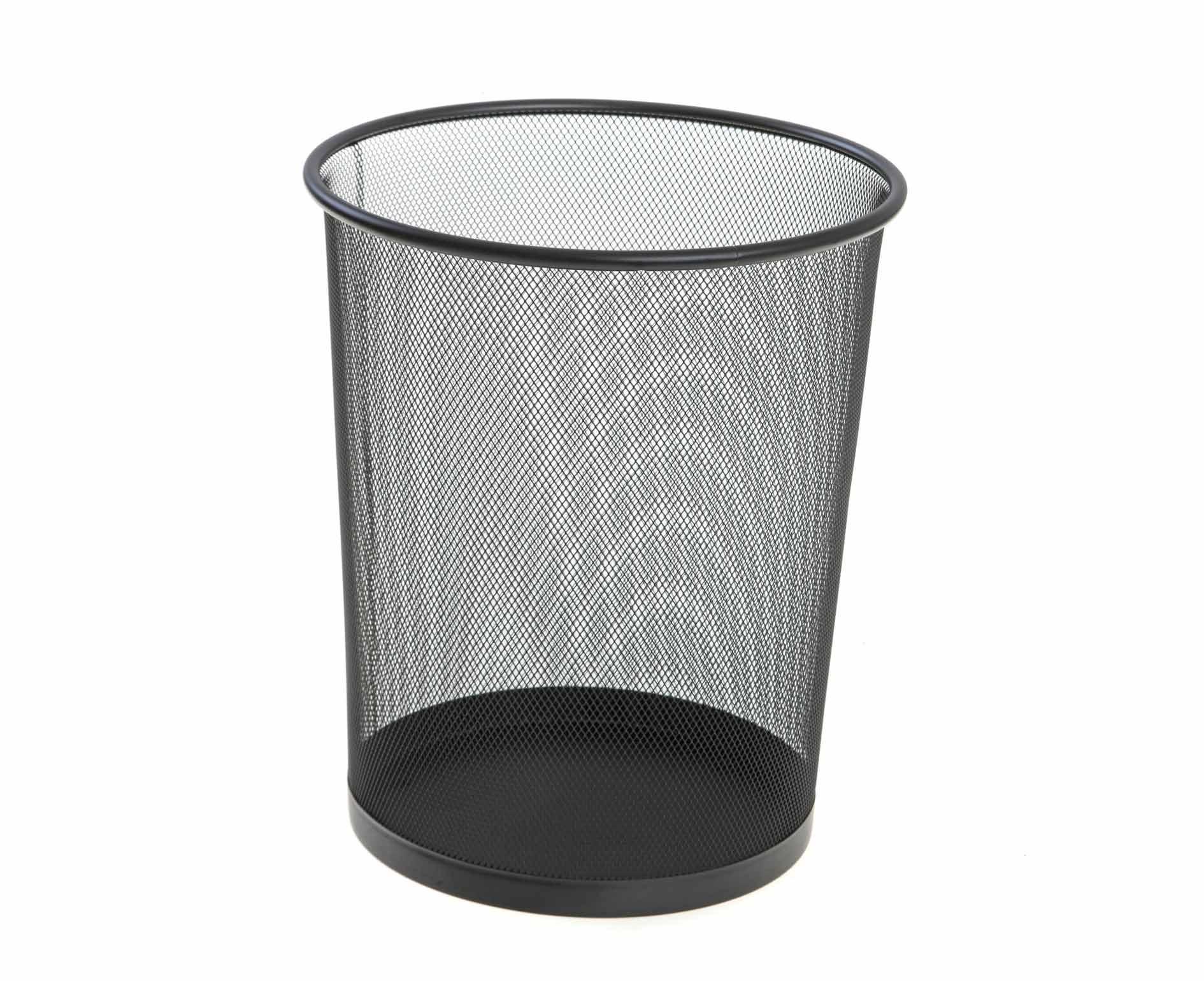 Metal Mesh Waste Bin Round Big Black