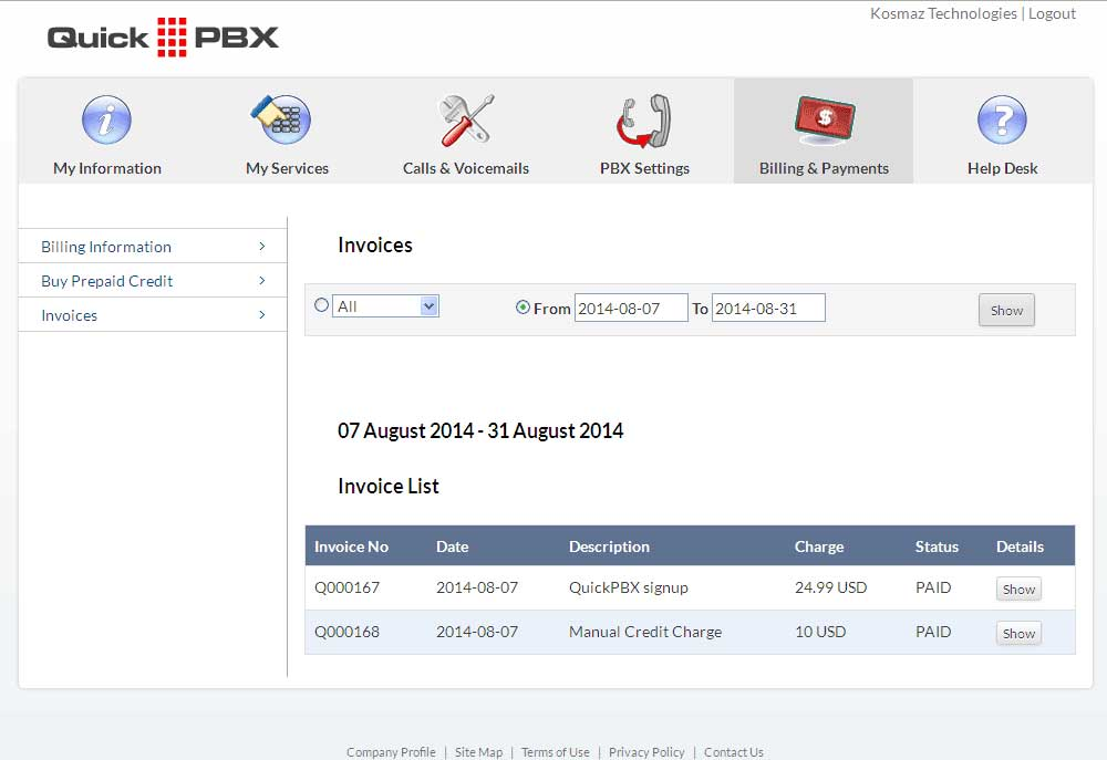 Virtual PBX invoices