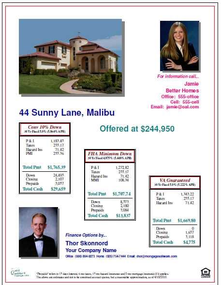 Open House Flyers with finance options and property features - open house flyer