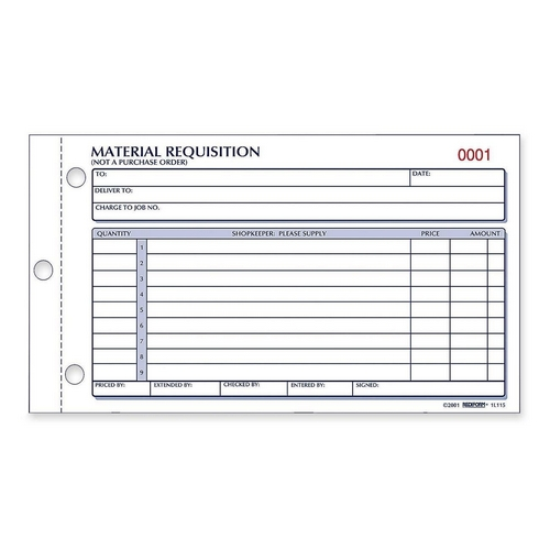 Rediform Material Requisition Purchasing Form - Quickship - material request form