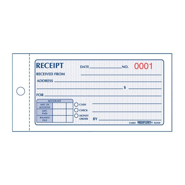 Rediform Money Receipt 2/Part Collection Forms - Quickship - money receipt template
