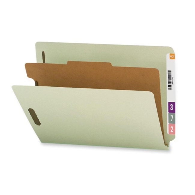 Smead End Tab Classification Folder with Dividers - 10/Box - Gray - folder dividers tabs