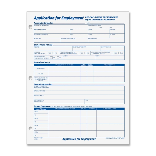 Tops Employment Application Form 50 Sheets 11\ - general application form