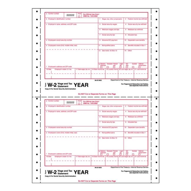 Tops Standard W-2 Tax Form - Quickship - tax form