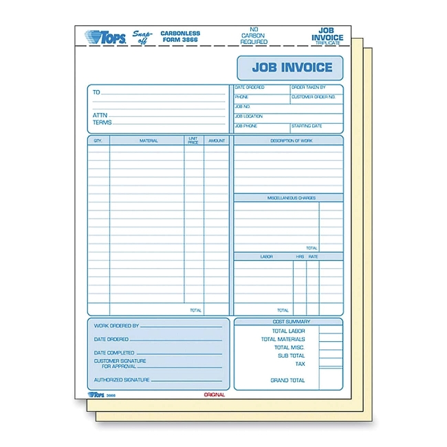 Tops Three Part Carbonless Job Invoice Forms - 11\