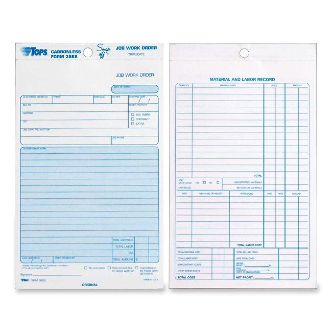 Tops Triplicate Job Work Order Form - Carbonless - Quickship