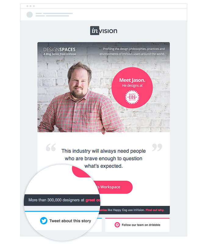 invision customer numbers email social proof