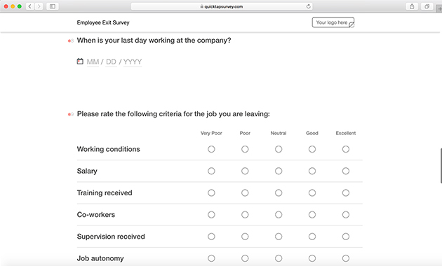 Online Employee Exit Survey Template QuickTapSurvey