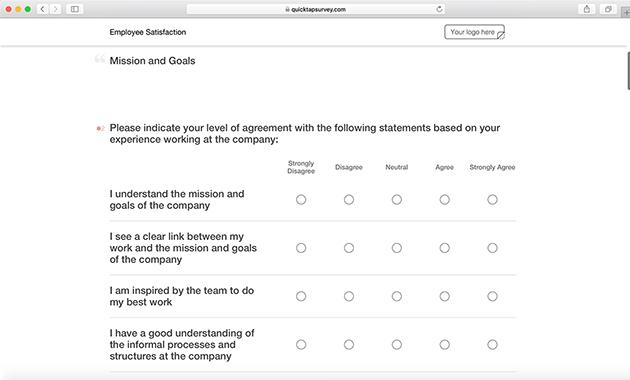 Employee Satisfaction Survey Template QuickTapSurvey