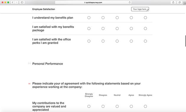Online Employee Satisfaction Survey Template QuickTapSurvey