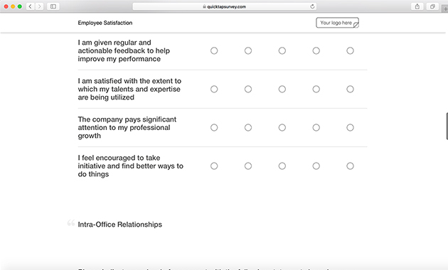 Online Employee Satisfaction Survey Template QuickTapSurvey - Feedback Survey Templates