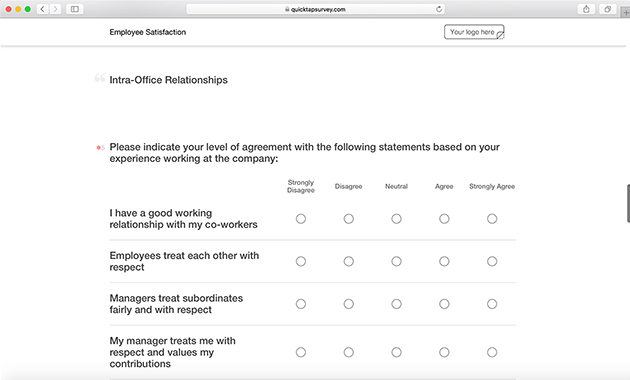 Online Employee Satisfaction Survey Template QuickTapSurvey - job satisfaction survey template