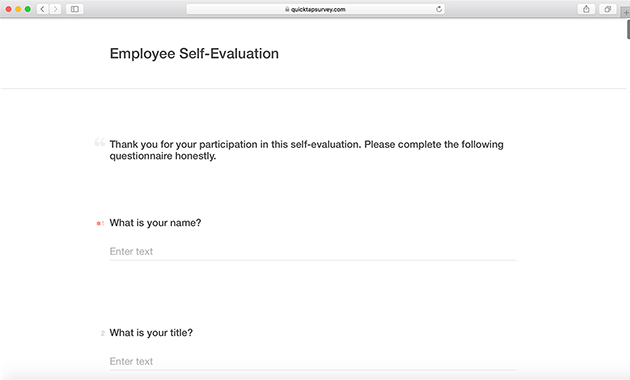 Employee Self Evaluation Template QuickTapSurvey
