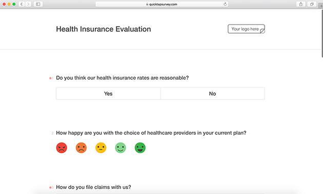 Health Insurance Satisfaction Survey Template QuickTapSurvey