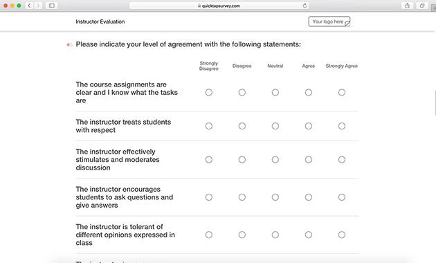 Online Instructor Evaluation Survey Template QuickTapSurvey